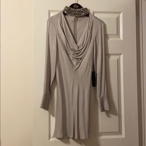 Silver long sleeve dress with embroidered collar